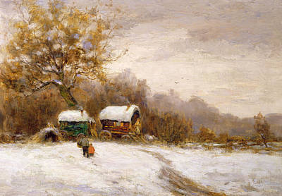 Gypsy Caravans In The Snow Poster by Leila K Williamson