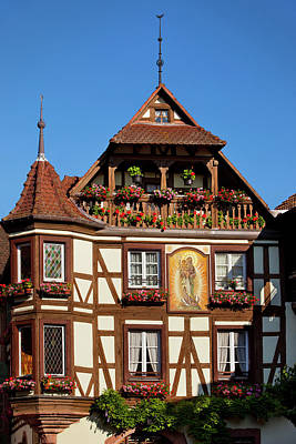 Half-timbered Building In Town Poster by Brian Jannsen