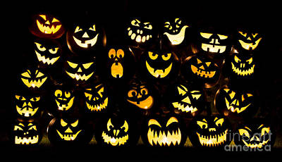 Halloween Pumpkin Faces Poster by Tim Gainey