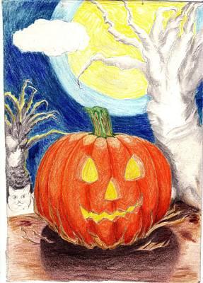 Halloween Pumpkin Poster by Ray  Texidor