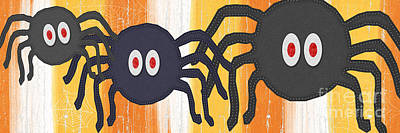 Halloween Spiders Sign Poster by Linda Woods