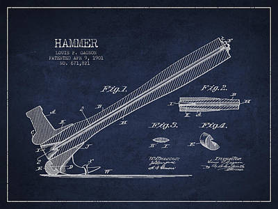 Hammer Patent Drawing From 1901 Poster by Aged Pixel