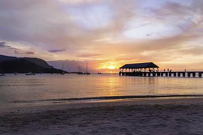 Hanalei Bay Pier Sunset 3 - Kauai Hawaii Poster by Brian Harig