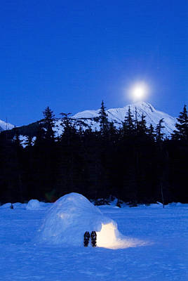 Hand Built Igloo In Moonlight Lit Up Poster by Randy Brandon