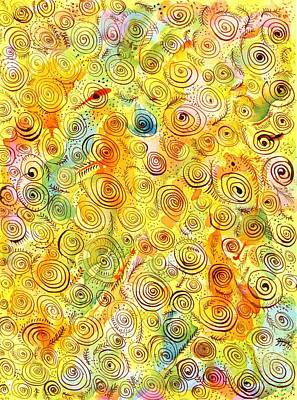 Hand-drawn Abstract Background With Spirals On Yellow Green Pink Poster by Ion vincent DAnu