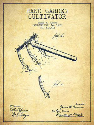 Hand Garden Cultivator Patent From 1889 - Vintage Poster by Aged Pixel