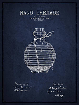 Hand Grenade Patent Drawing From 1884 Poster by Aged Pixel