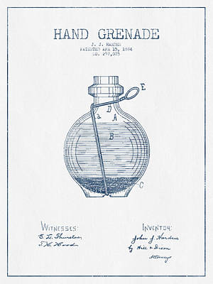 Hand Grenade Patent Drawing From 1884- Blue Ink Poster by Aged Pixel