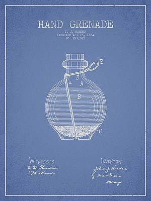 Hand Grenade Patent Drawing From 1884 - Light Blue Poster by Aged Pixel