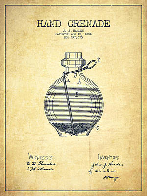 Hand Grenade Patent Drawing From 1884 - Vintage Poster by Aged Pixel