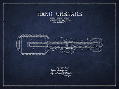Hand Grenade Patent Drawing From 1916 Poster by Aged Pixel