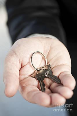 Hand Offering New Keys Poster by Elena Elisseeva