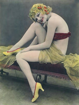 Hand Tinted Photo Of A Woman Poster by Underwood Archives