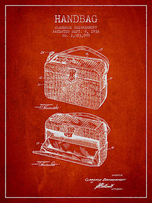 Handbag Patent From 1936 - Red Poster by Aged Pixel
