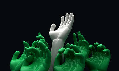 Hands Reaching Skyward Poster by Allan Swart