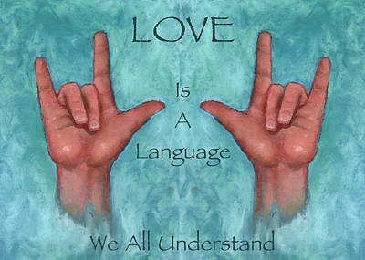 Hands Signing Love Poster by Joyce Geleynse