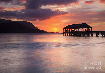 Hanelei Pier Sunset Poster by Mike Dawson