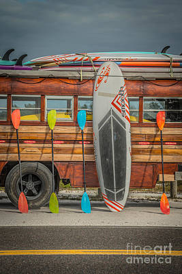 Hang Ten - Vintage Woodie Surf Bus - Florida - Hdr Style Poster by Ian Monk