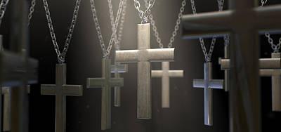 Hanging Metal Crucifixes  Poster by Allan Swart