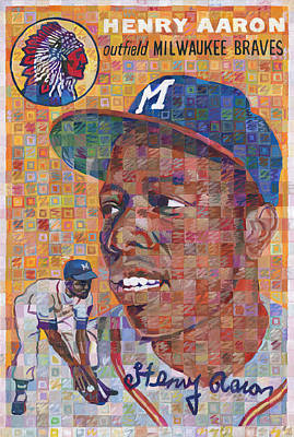Hank Aaron Rookie Card Poster by Randal Huiskens