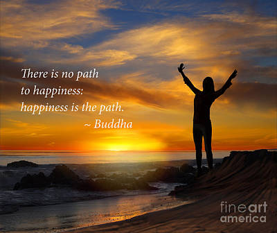 Happiness Is The Path Poster by Stella Levi