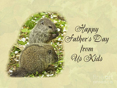 Happy Father's Day Greeting Card - Baby Groundhogs Poster by Mother Nature
