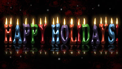 Happy Holidays Colorful Candles Text Poster by Georgeta Blanaru