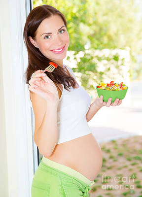 Happy Pregnant Woman Eating Poster by Anna Omelchenko