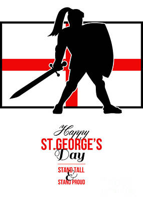 Happy St George Day Stand Tall And Proud Greeting Card Poster by Aloysius Patrimonio