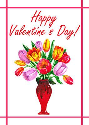 Happy Valentines Tulip Bouquet Poster by Irina Sztukowski