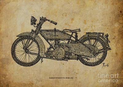 Harley Davidson Wj Sport - 1921 Poster by Pablo Franchi