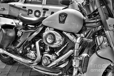 Harleys In Cincinnati 2 Bw Poster by Mel Steinhauer