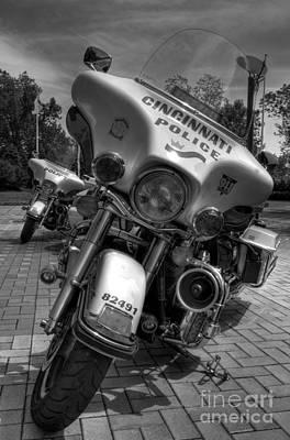 Harleys In Cincinnati Bw Poster by Mel Steinhauer