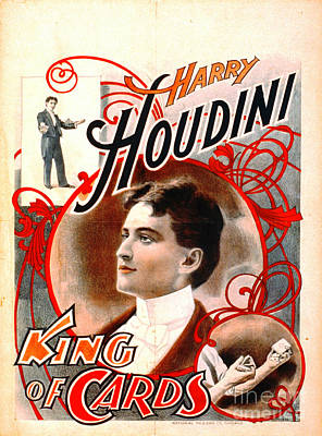 Harry Houdini - King Of Cards 1895 Poster by Padre Art