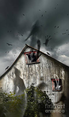 Haunted Barn With Ghosts Flying And Dark Skies Poster by Sandra Cunningham