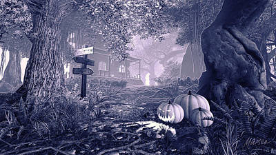 Haunted House Bw Poster by Marina Likholat