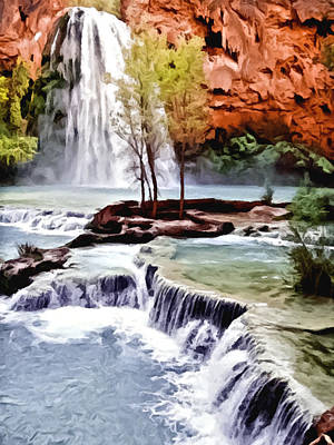 Havasau Falls Painting Poster by Bob and Nadine Johnston