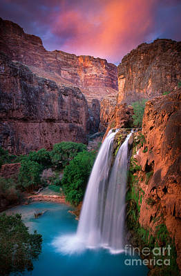 Dusk Poster featuring the photograph Havasu Falls by Inge Johnsson