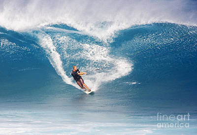 Hawaii, Maui, Ho_okipa, Man Kitesurfing On Large Blue Wave. Poster by Ron Dahlquist