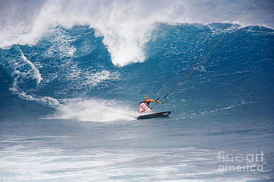 Hawaii, Maui, Ho_okipa, Pete Cabrinha Kitesurfing On Large Blue Wave. Poster by Ron Dahlquist