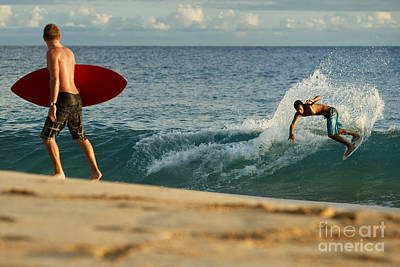 Hawaii, Maui, Makena - Big Beach, Skimboarders Along Shorebreak. Poster by MakenaStockMedia
