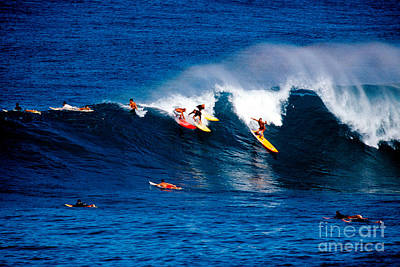 Hawaii Oahu Waimea Bay Surfers Poster by Anonymous