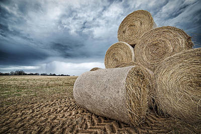 Hay Bales And An Approaching Spring Storm E89 Poster by Wendell Franks