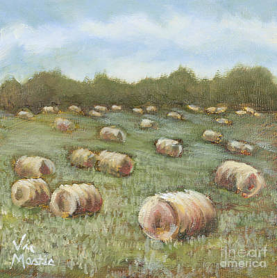 Haybales In The Field Poster by Vic  Mastis