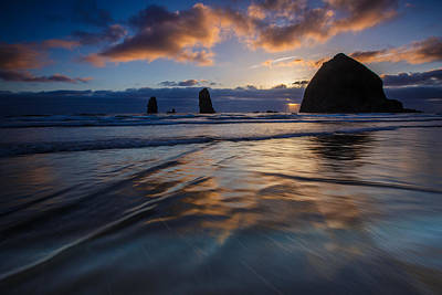 Haystack Rock And The Needles Poster by Rick Berk