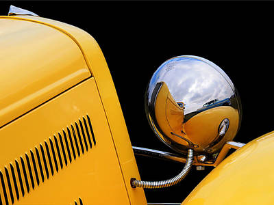 Headlight Reflections In A 32 Ford Deuce Coupe Poster by Gill Billington