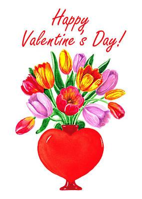 Heart Full Of Tulips Valentine Bouquet  Poster by Irina Sztukowski