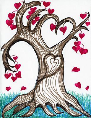 Heartful Tree 4 You Poster by Minnie Lippiatt