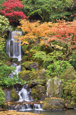 Heavenly Falls And Autumn Colors Poster by William Sutton
