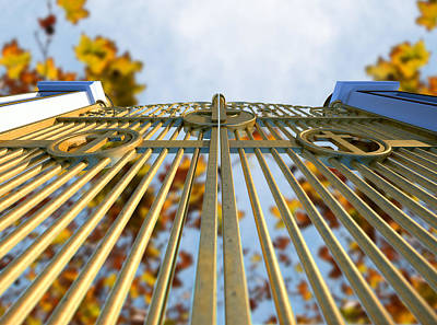Heavens Golden Gates And Autumn Leaves Poster by Allan Swart
